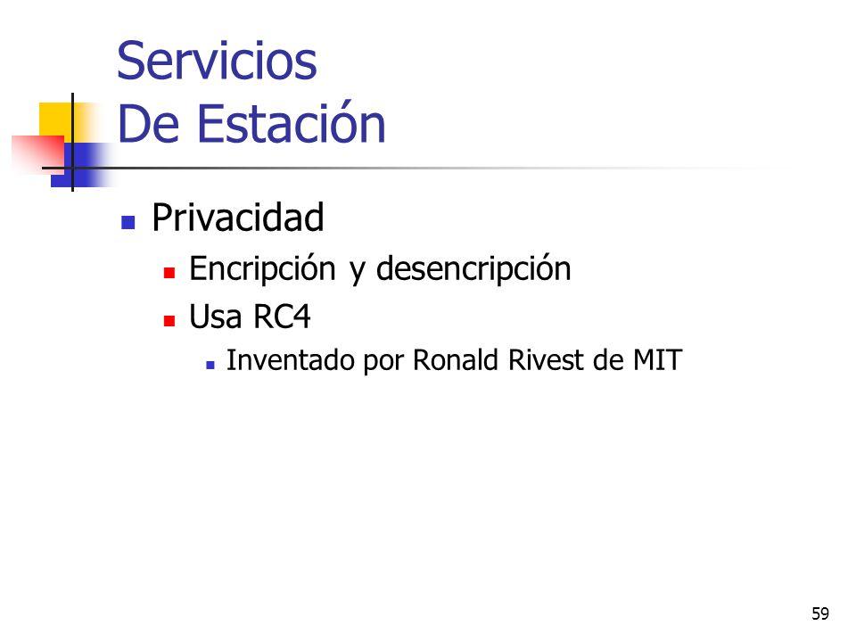59 Servicios De Estación Privacidad Encripción y desencripción Usa RC4 Inventado por Ronald Rivest de MIT