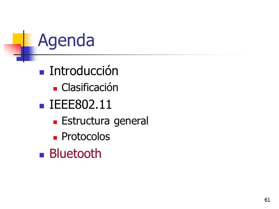 61 Agenda Introducción Clasificación IEEE802.11 Estructura general Protocolos Bluetooth