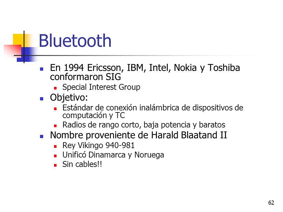 62 Bluetooth En 1994 Ericsson, IBM, Intel, Nokia y Toshiba conformaron SIG Special Interest Group Objetivo: Estándar de conexión inalámbrica de dispos