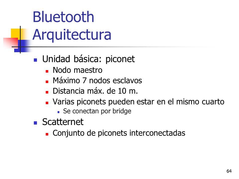 64 Bluetooth Arquitectura Unidad básica: piconet Nodo maestro Máximo 7 nodos esclavos Distancia máx. de 10 m. Varias piconets pueden estar en el mismo