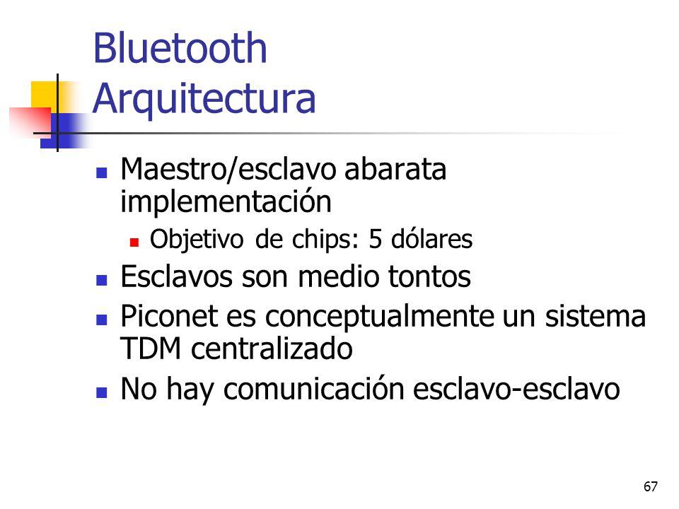 67 Bluetooth Arquitectura Maestro/esclavo abarata implementación Objetivo de chips: 5 dólares Esclavos son medio tontos Piconet es conceptualmente un
