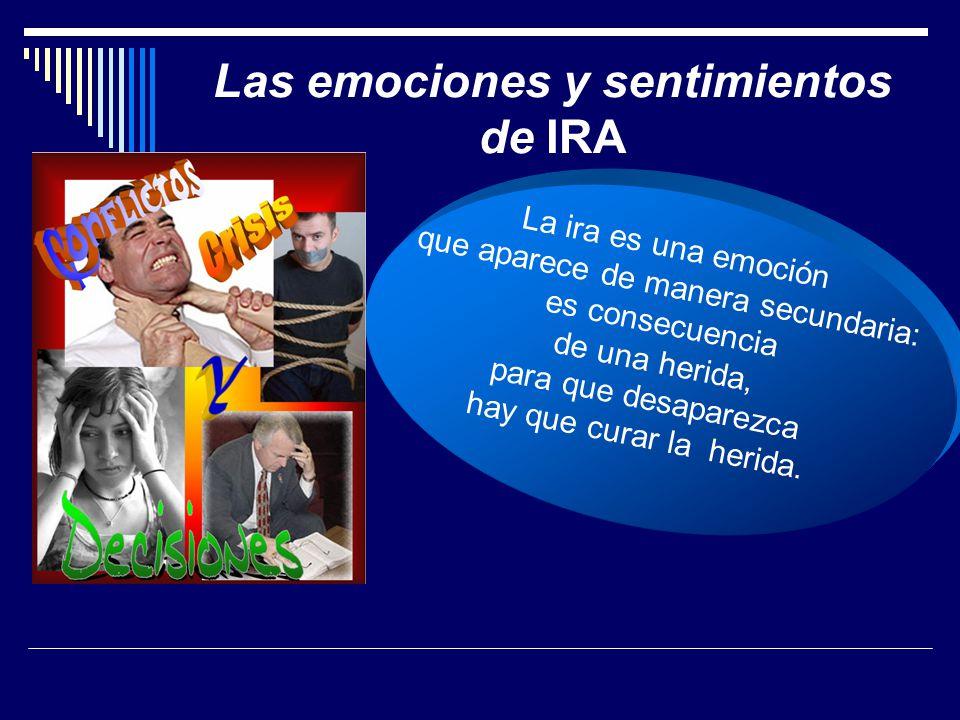 Las emociones y sentimientos de IRA La ira es una emoción que aparece de manera secundaria: es consecuencia de una herida, para que desaparezca hay que curar la herida.