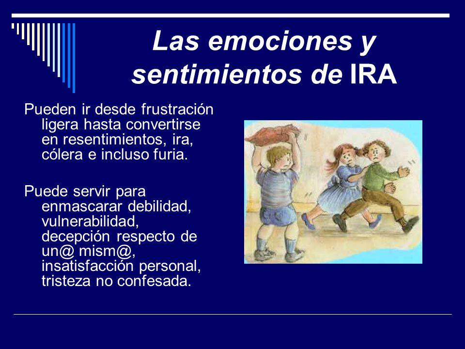 Las emociones y sentimientos de IRA Pueden ir desde frustración ligera hasta convertirse en resentimientos, ira, cólera e incluso furia.