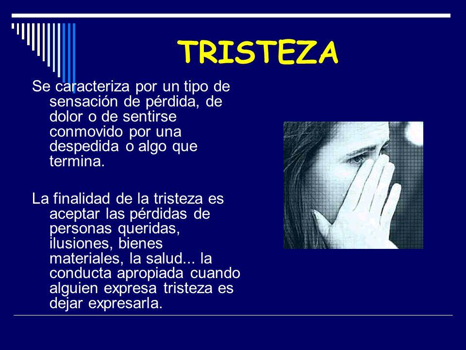 TRISTEZA Se caracteriza por un tipo de sensación de pérdida, de dolor o de sentirse conmovido por una despedida o algo que termina. La finalidad de la