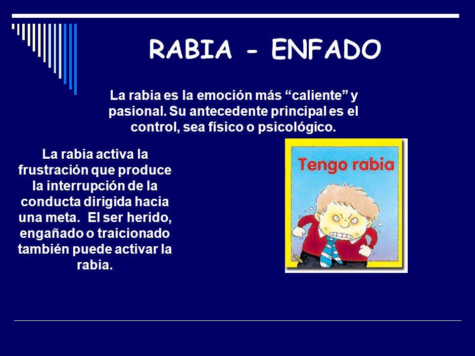 RABIA - ENFADO La rabia es la emoción más caliente y pasional. Su antecedente principal es el control, sea físico o psicológico. La rabia activa la fr