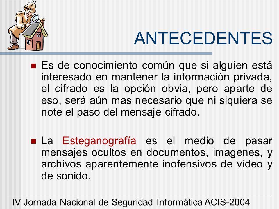 IV Jornada Nacional de Seguridad Informática ACIS-2004 ANTECEDENTES Es de conocimiento común que si alguien está interesado en mantener la información