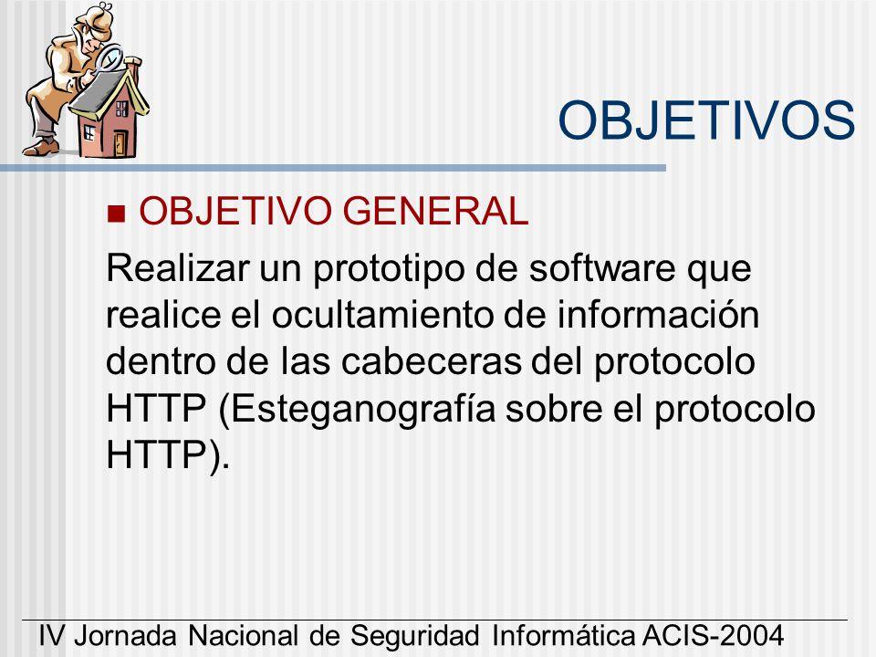 IV Jornada Nacional de Seguridad Informática ACIS-2004 OBJETIVOS OBJETIVO GENERAL Realizar un prototipo de software que realice el ocultamiento de inf