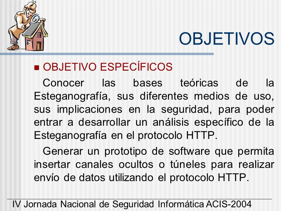 IV Jornada Nacional de Seguridad Informática ACIS-2004 OBJETIVOS OBJETIVO ESPECÍFICOS Conocer las bases teóricas de la Esteganografía, sus diferentes