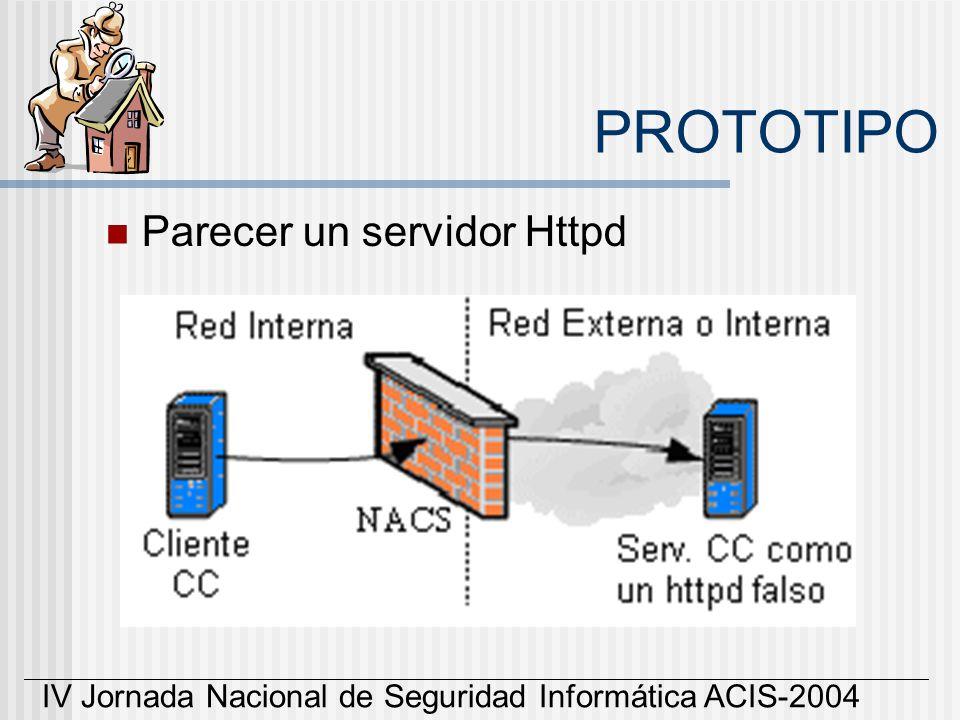IV Jornada Nacional de Seguridad Informática ACIS-2004 PROTOTIPO Parecer un servidor Httpd