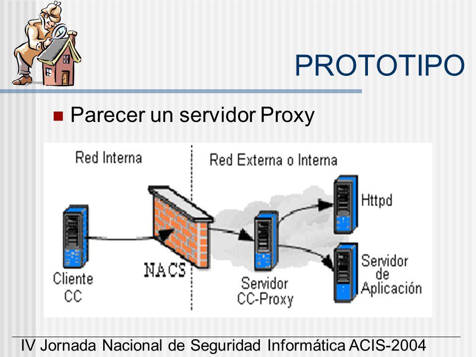 IV Jornada Nacional de Seguridad Informática ACIS-2004 PROTOTIPO Parecer un servidor Proxy