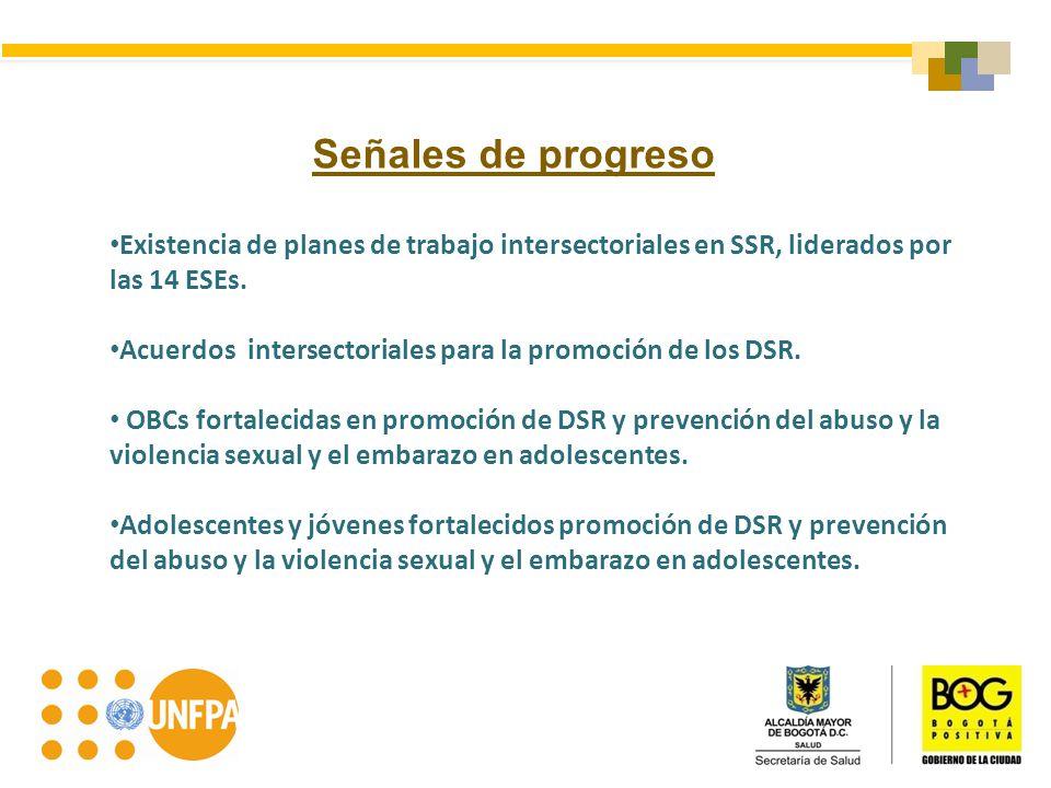 Señales de progreso Existencia de planes de trabajo intersectoriales en SSR, liderados por las 14 ESEs. Acuerdos intersectoriales para la promoción de