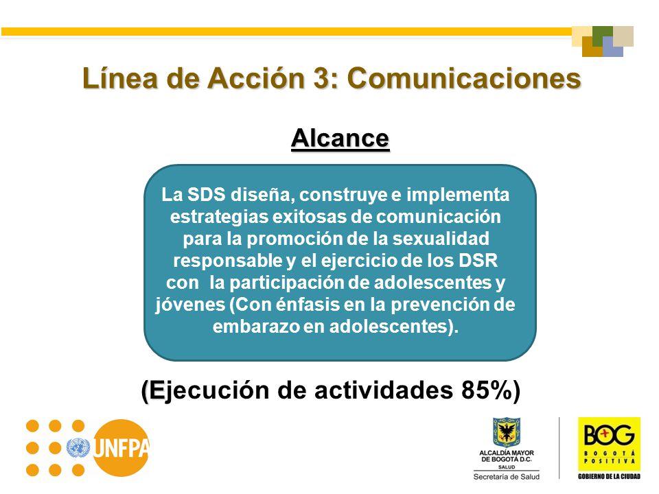 Línea de Acción 3: Comunicaciones Alcance (E (Ejecución de actividades 85%) La SDS diseña, construye e implementa estrategias exitosas de comunicación