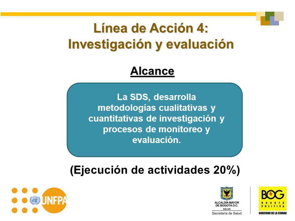 Línea de Acción 4: Investigación y evaluación Alcance (E (Ejecución de actividades 20%) La SDS, desarrolla metodologías cualitativas y cuantitativas d