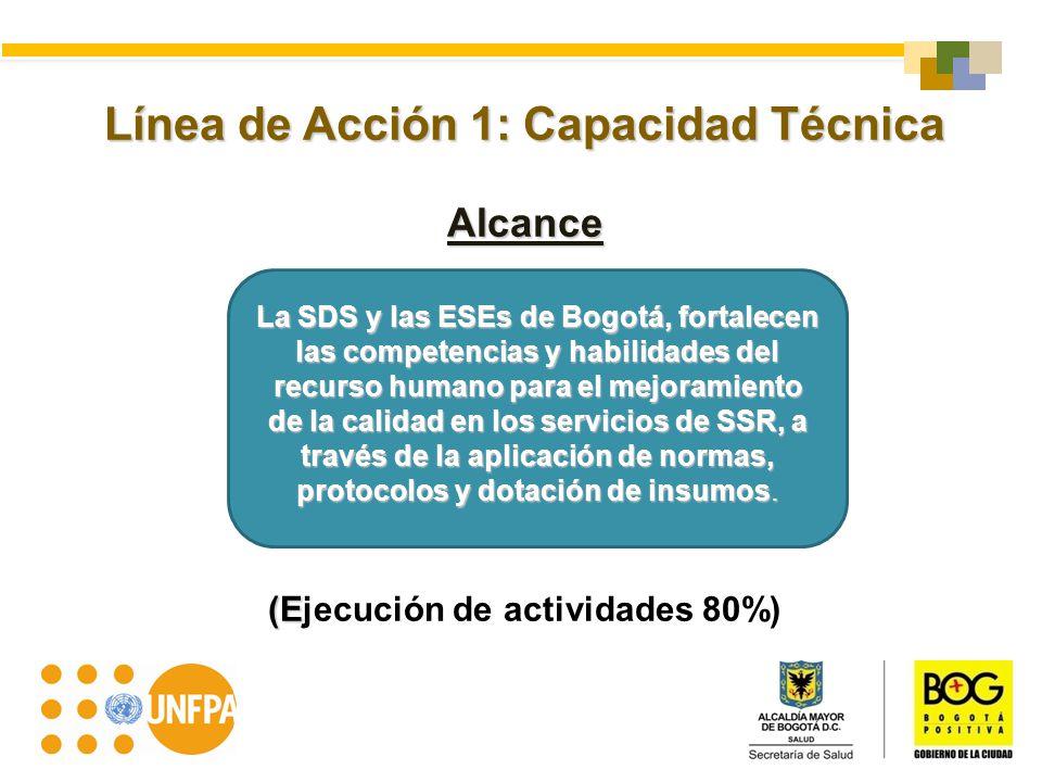 Línea de Acción 1: Capacidad Técnica Alcance (E (Ejecución de actividades 80%) La SDS y las ESEs de Bogotá, fortalecen las competencias y habilidades