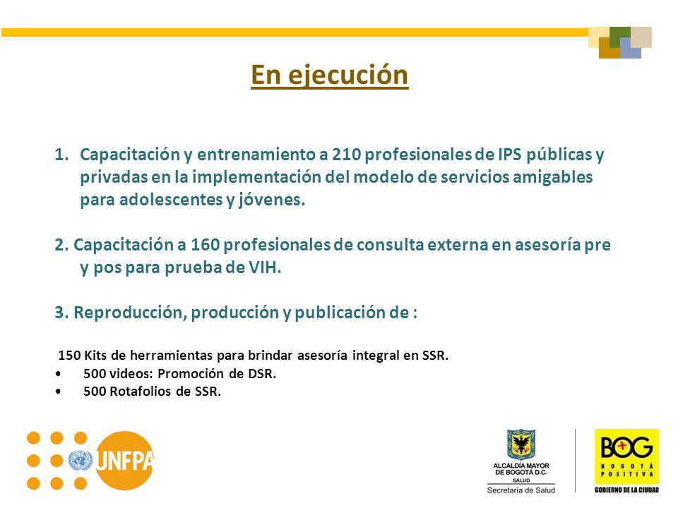 En ejecución 1.Capacitación y entrenamiento a 210 profesionales de IPS públicas y privadas en la implementación del modelo de servicios amigables para