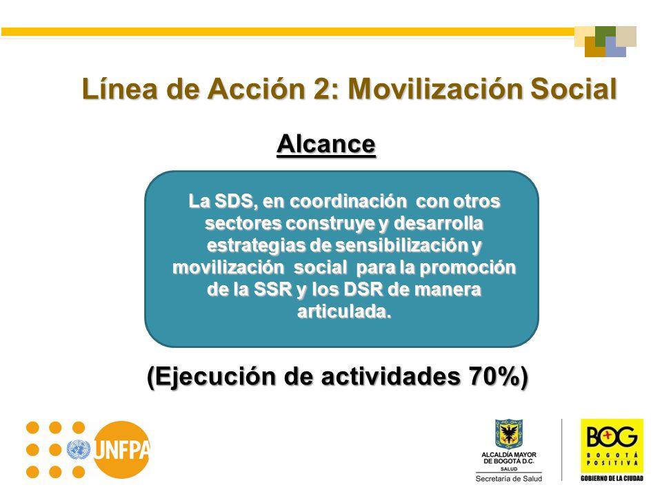 Alcance Línea de Acción 2: Movilización Social La SDS, en coordinación con otros sectores construye y desarrolla estrategias de sensibilización y movi