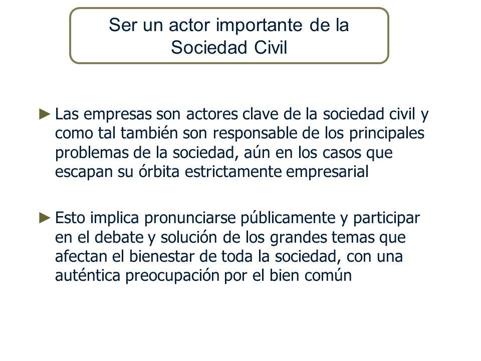 Las empresas son actores clave de la sociedad civil y como tal también son responsable de los principales problemas de la sociedad, aún en los casos q