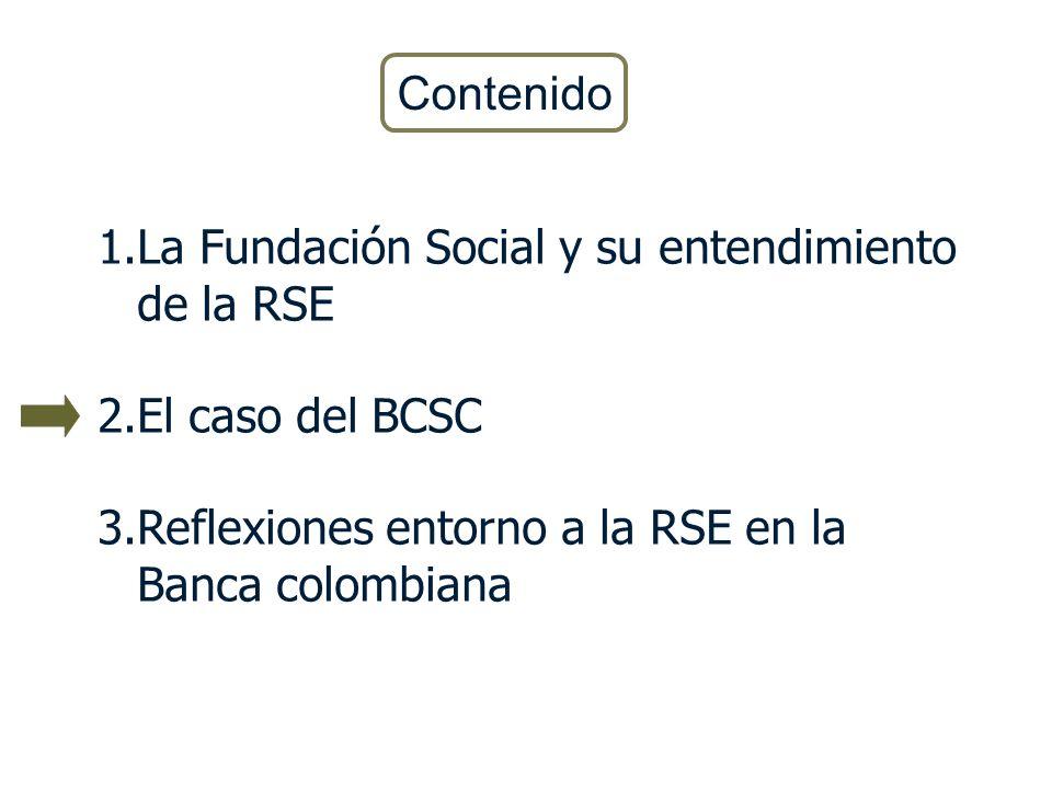1.La Fundación Social y su entendimiento de la RSE 2.El caso del BCSC 3.Reflexiones entorno a la RSE en la Banca colombiana Contenido