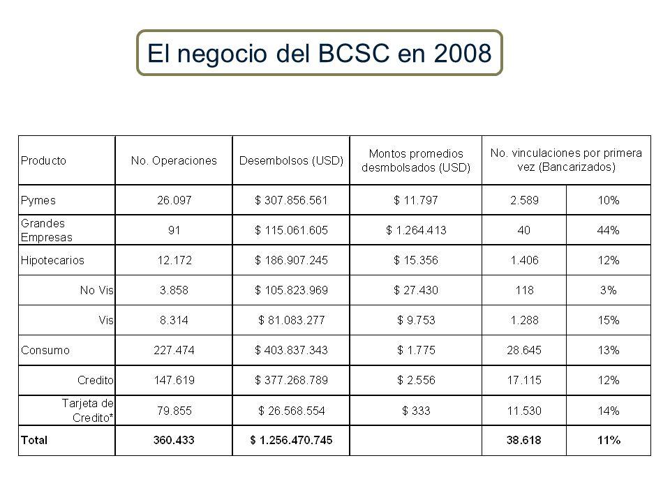 El negocio del BCSC en 2008