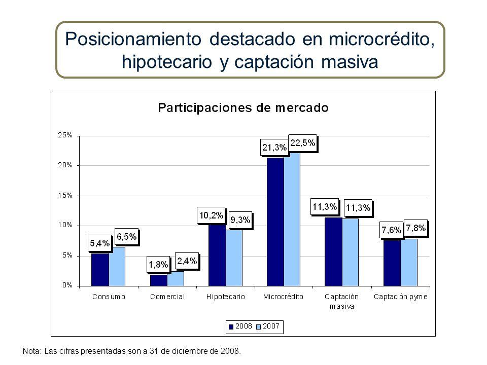 Posicionamiento destacado en microcrédito, hipotecario y captación masiva Nota: Las cifras presentadas son a 31 de diciembre de 2008.