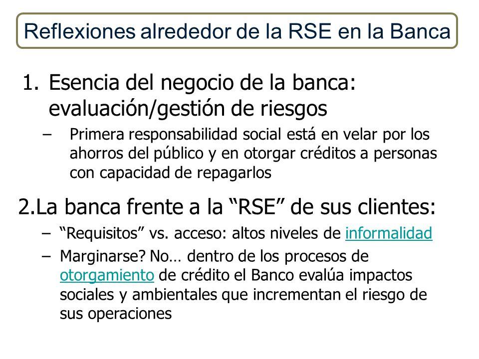 1.Esencia del negocio de la banca: evaluación/gestión de riesgos –Primera responsabilidad social está en velar por los ahorros del público y en otorga