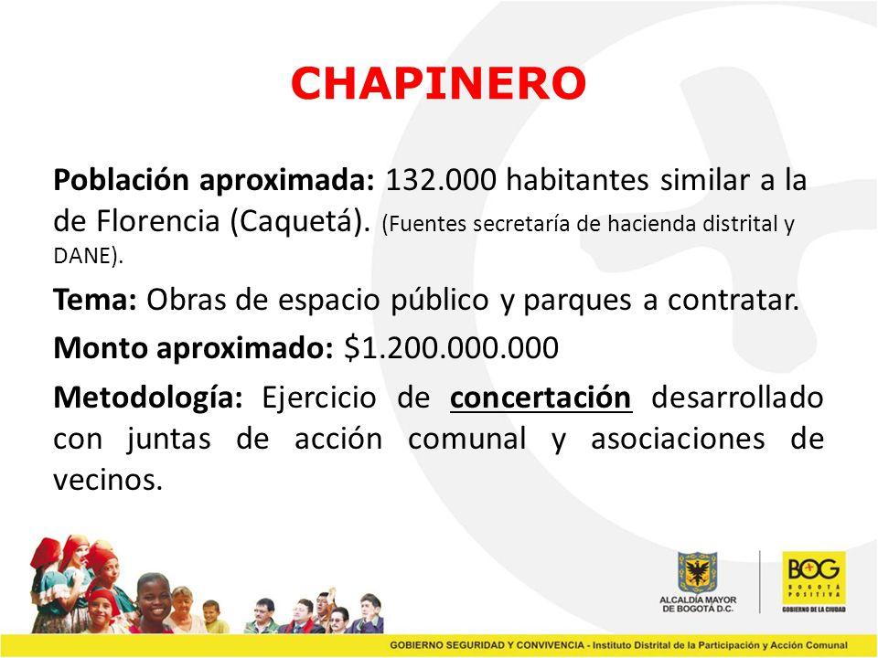 CHAPINERO Población aproximada: 132.000 habitantes similar a la de Florencia (Caquetá). (Fuentes secretaría de hacienda distrital y DANE). Tema: Obras
