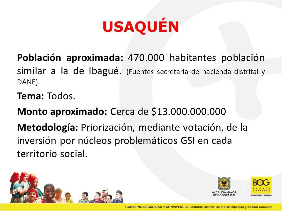 USAQUÉN Población aproximada: 470.000 habitantes población similar a la de Ibagué. (Fuentes secretaría de hacienda distrital y DANE). Tema: Todos. Mon
