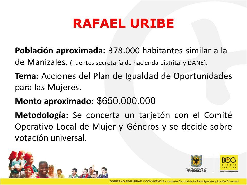RAFAEL URIBE Población aproximada: 378.000 habitantes similar a la de Manizales. (Fuentes secretaría de hacienda distrital y DANE). Tema: Acciones del