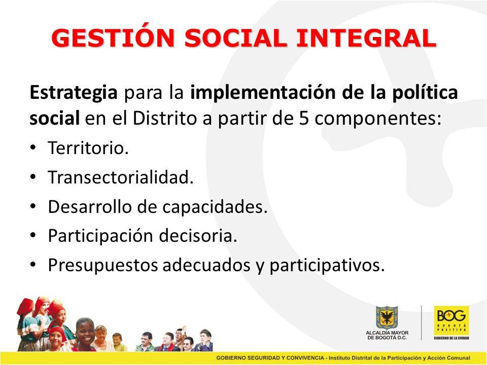 GESTIÓN SOCIAL INTEGRAL Estrategia para la implementación de la política social en el Distrito a partir de 5 componentes: Territorio. Transectorialida