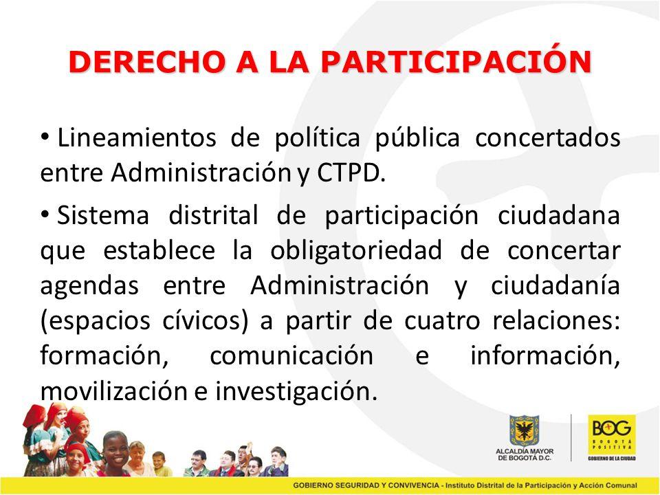 DERECHO A LA PARTICIPACIÓN Lineamientos de política pública concertados entre Administración y CTPD. Sistema distrital de participación ciudadana que