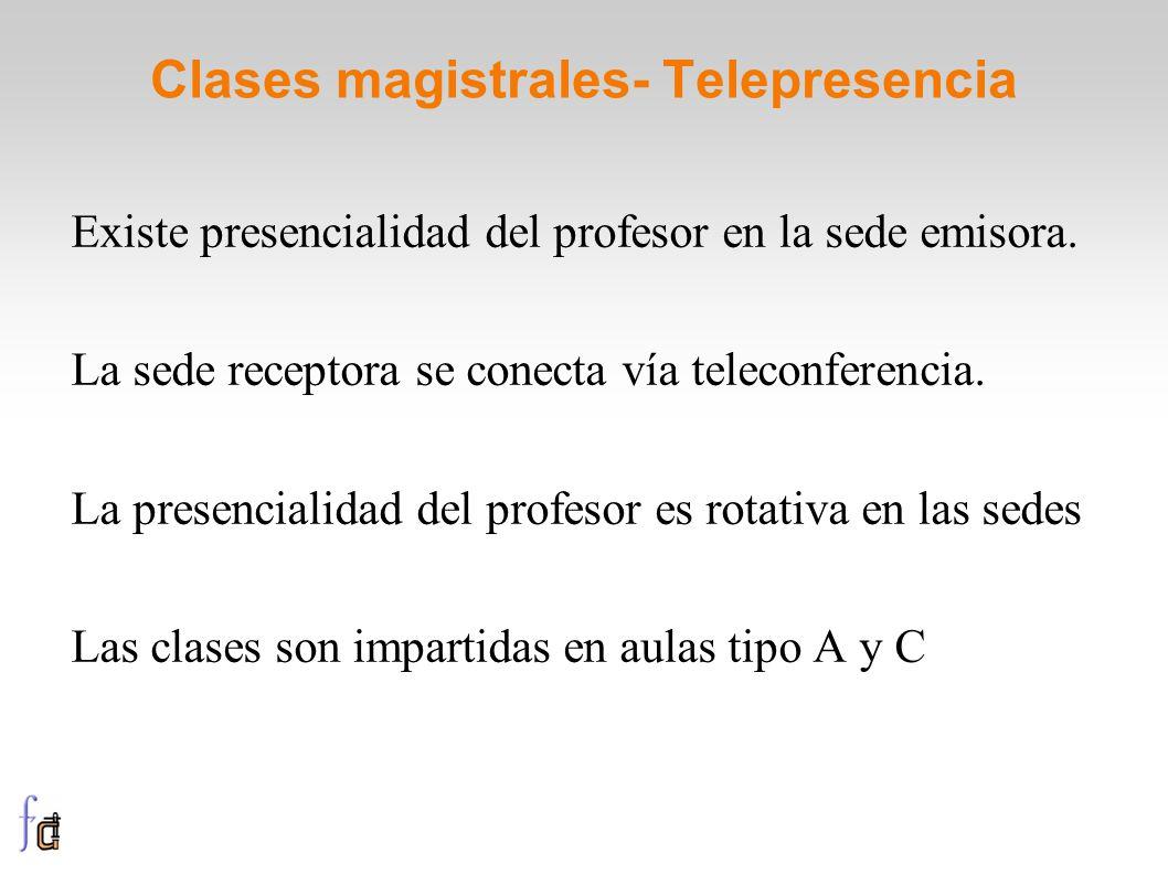 Clases magistrales- Telepresencia Existe presencialidad del profesor en la sede emisora. La sede receptora se conecta vía teleconferencia. La presenci
