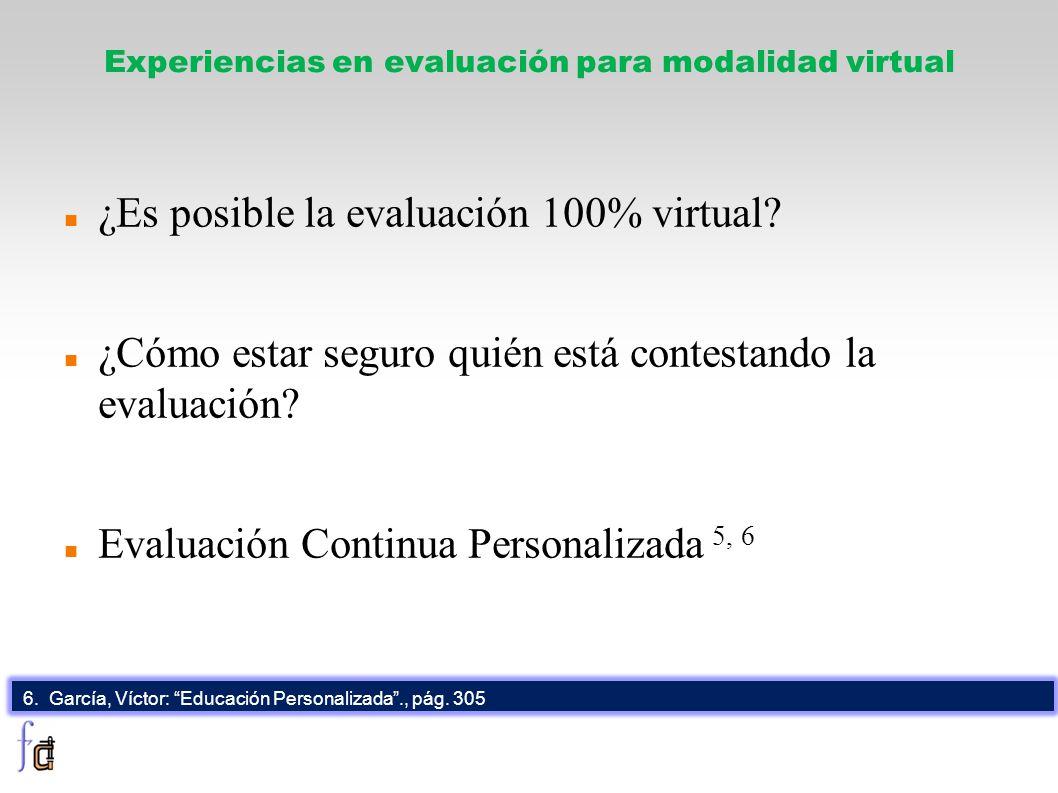 Experiencias en evaluación para modalidad virtual ¿Es posible la evaluación 100% virtual? ¿Cómo estar seguro quién está contestando la evaluación? Eva