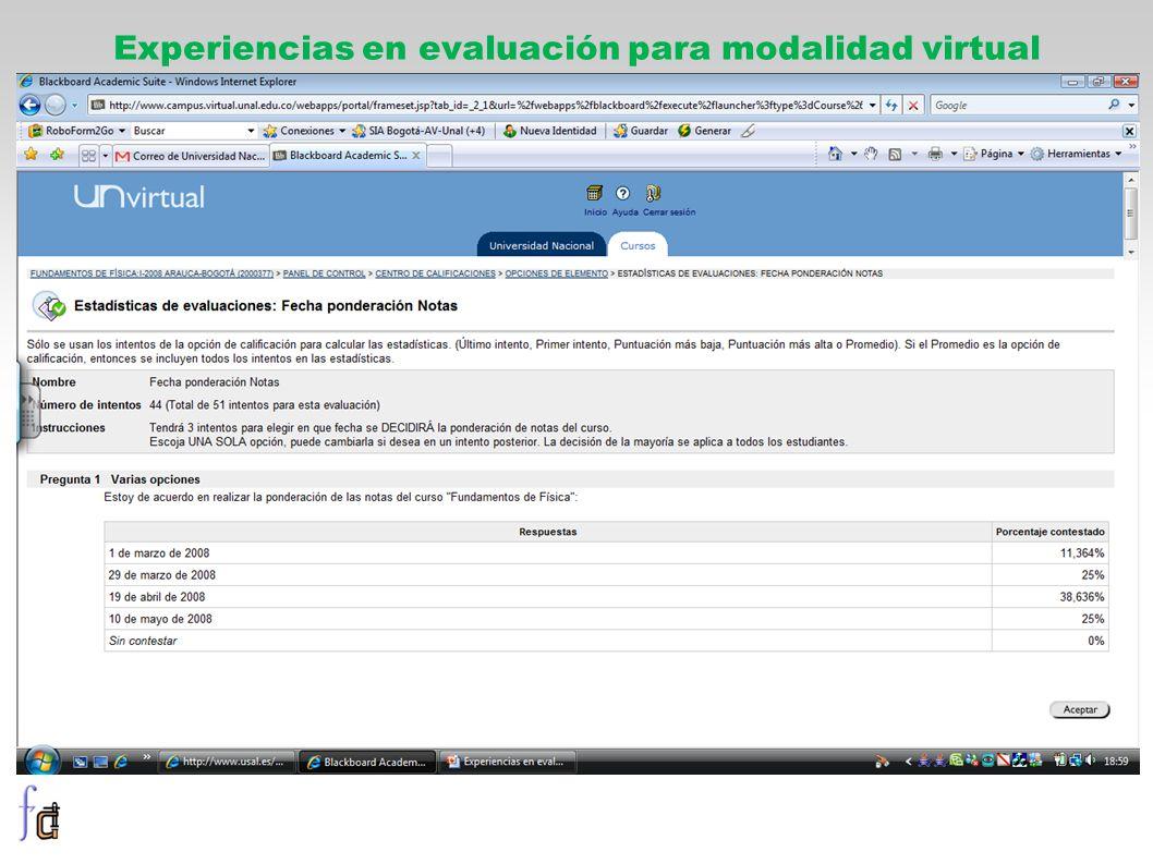 Experiencias en evaluación para modalidad virtual