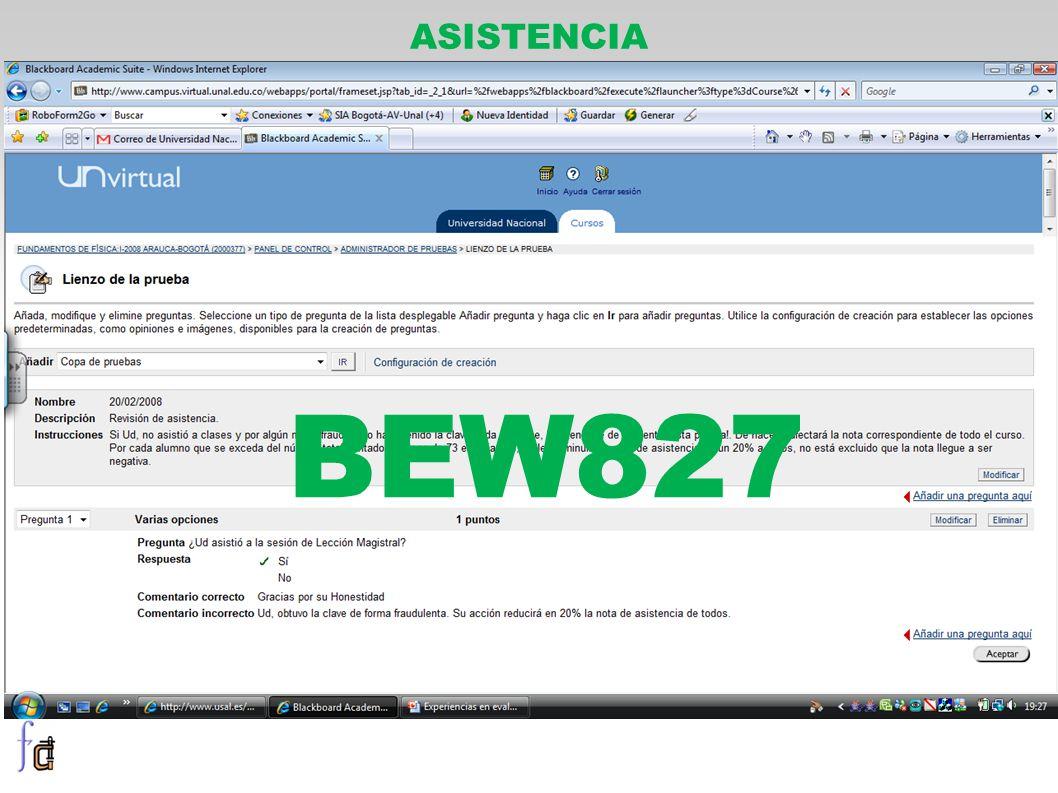 ASISTENCIA BEW827
