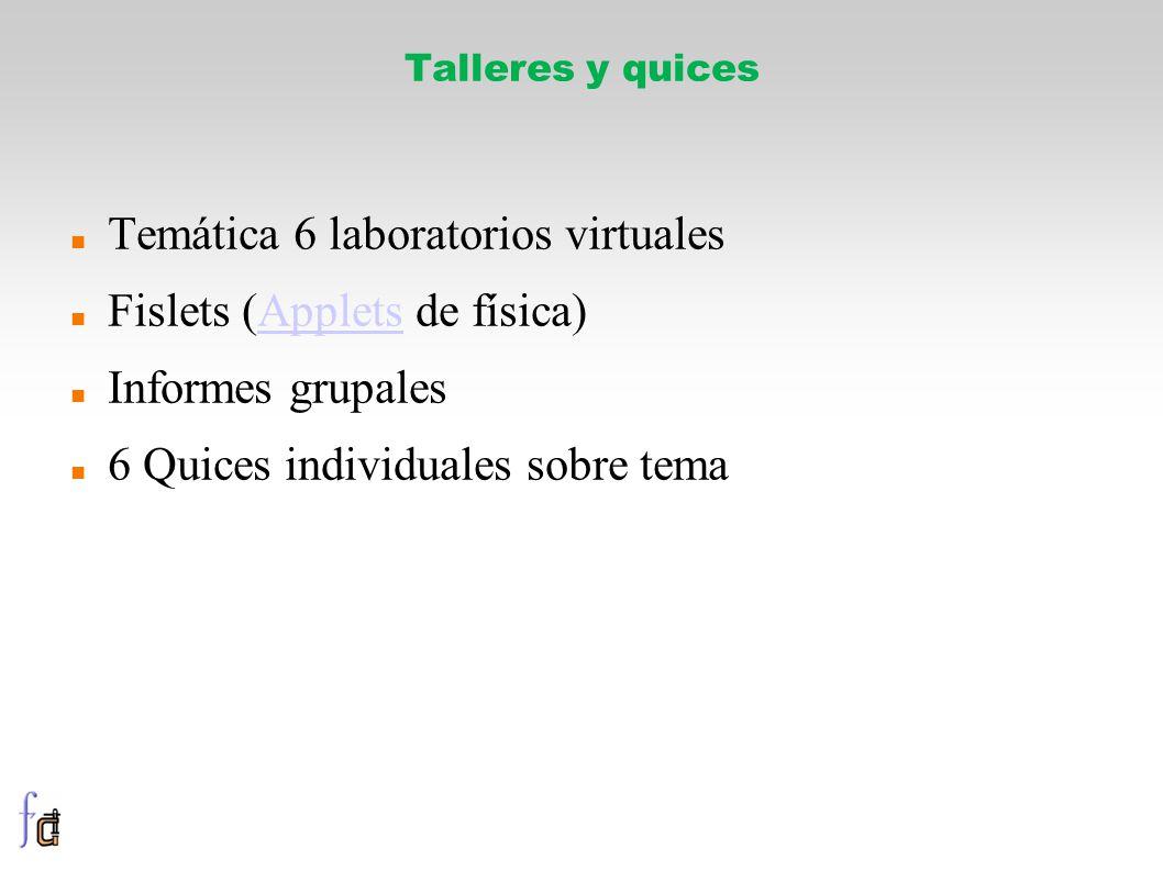 Talleres y quices Temática 6 laboratorios virtuales Fislets (Applets de física)Applets Informes grupales 6 Quices individuales sobre tema