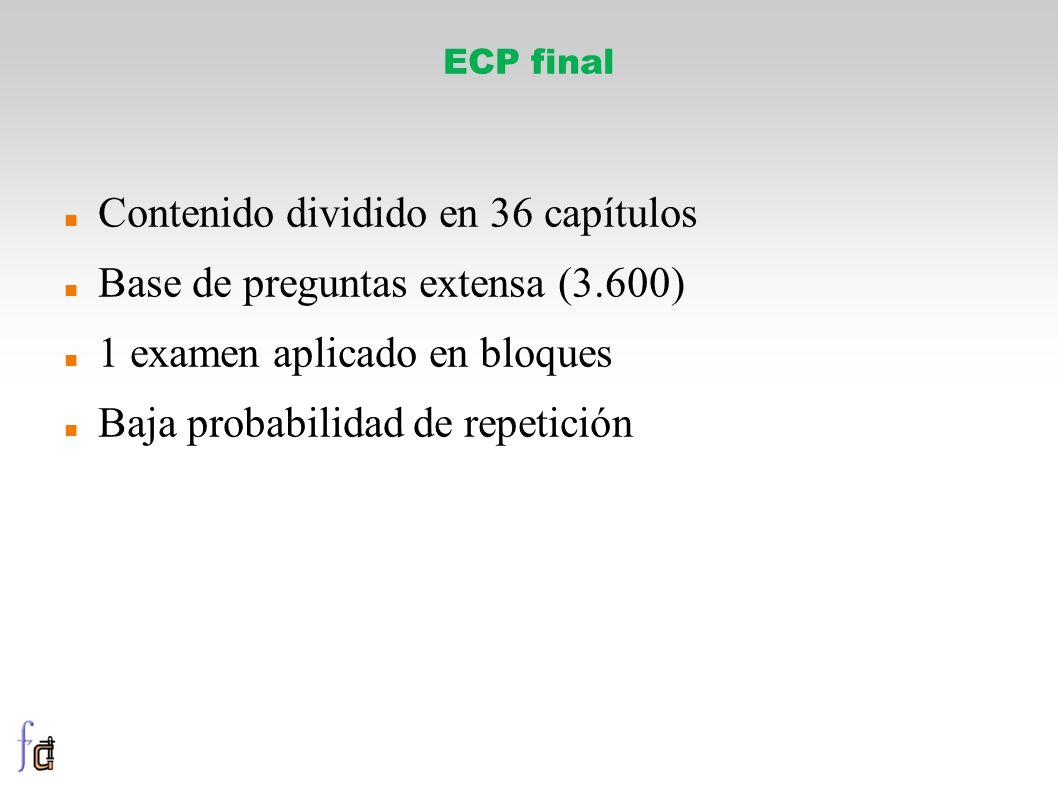 ECP final Contenido dividido en 36 capítulos Base de preguntas extensa (3.600) 1 examen aplicado en bloques Baja probabilidad de repetición