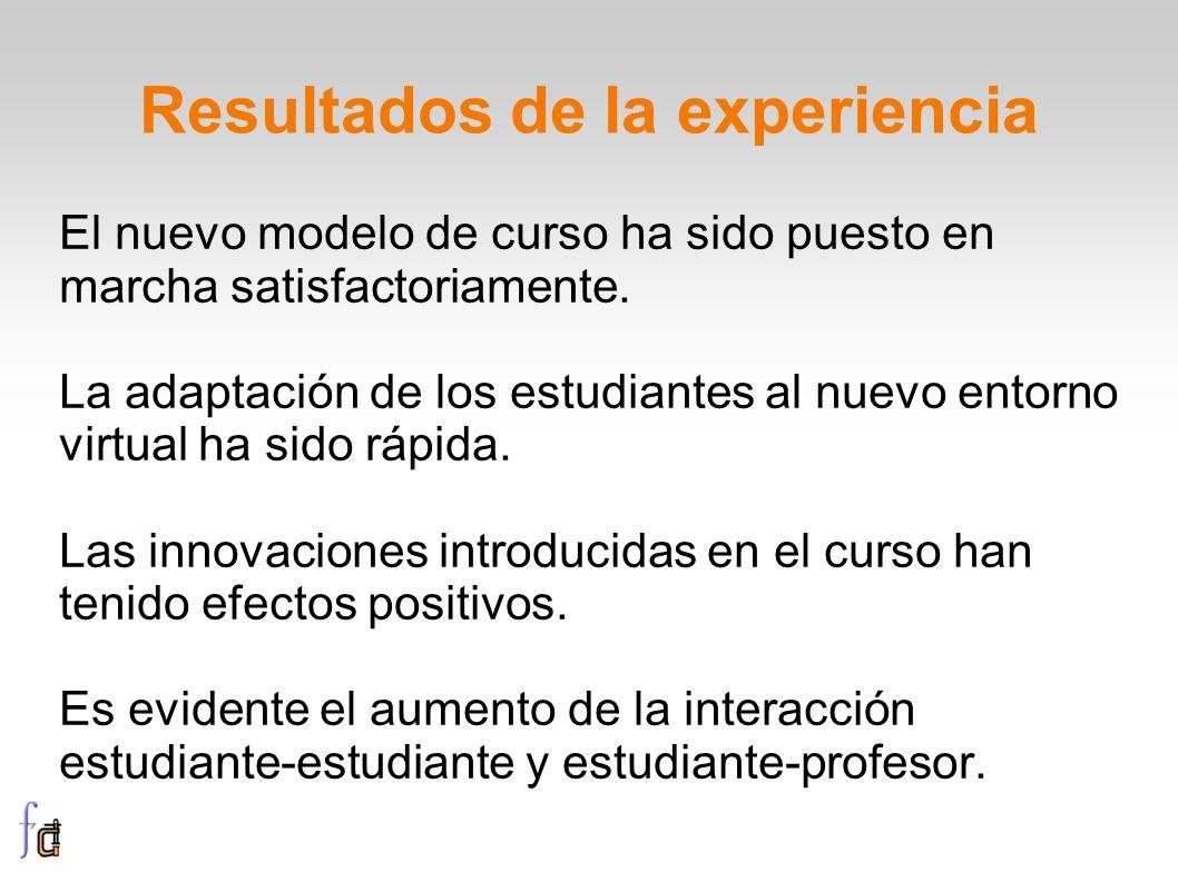 Resultados de la experiencia El nuevo modelo de curso ha sido puesto en marcha satisfactoriamente. La adaptación de los estudiantes al nuevo entorno v