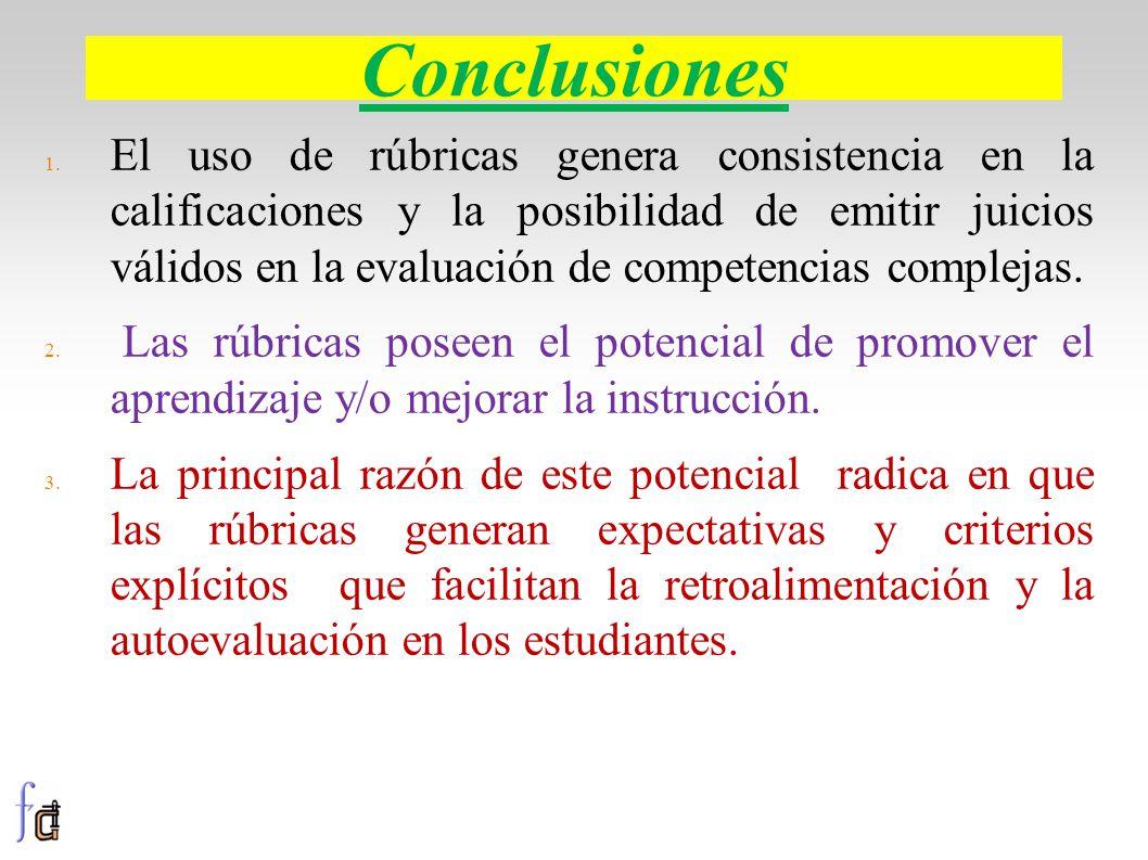 Conclusiones 1. El uso de rúbricas genera consistencia en la calificaciones y la posibilidad de emitir juicios válidos en la evaluación de competencia