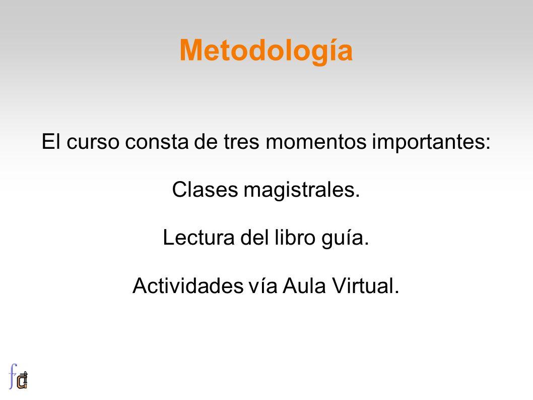 Metodología El curso consta de tres momentos importantes: Clases magistrales. Lectura del libro guía. Actividades vía Aula Virtual.