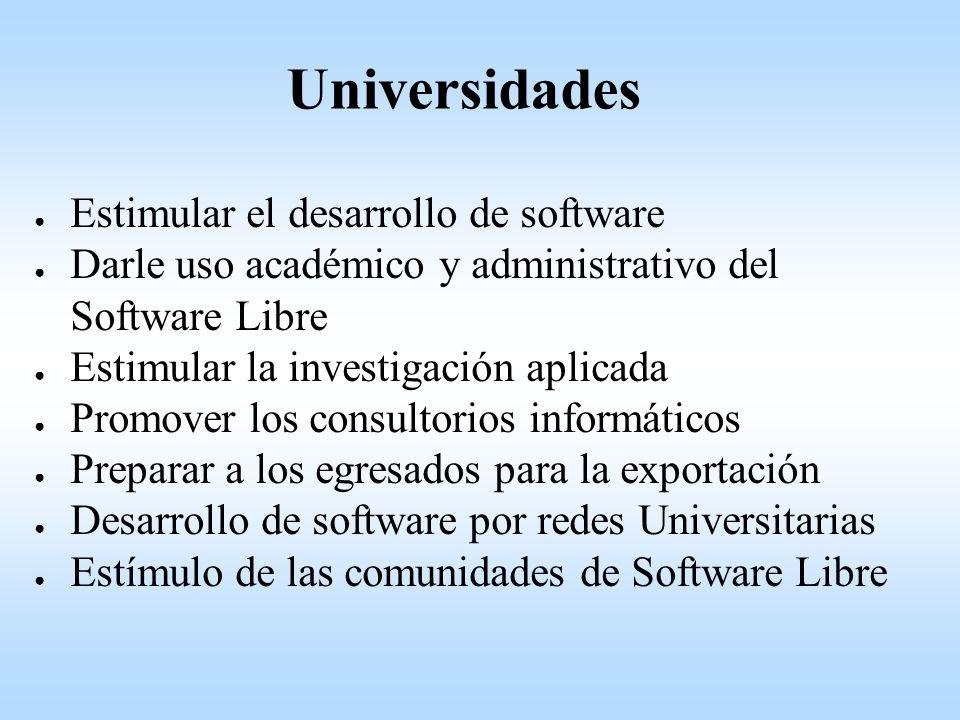 Estimular el desarrollo de software Darle uso académico y administrativo del Software Libre Estimular la investigación aplicada Promover los consultorios informáticos Preparar a los egresados para la exportación Desarrollo de software por redes Universitarias Estímulo de las comunidades de Software Libre Universidades