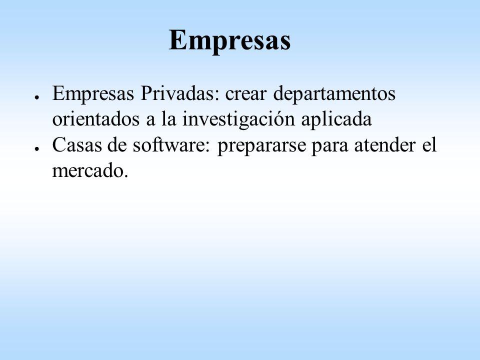 Empresas Privadas: crear departamentos orientados a la investigación aplicada Casas de software: prepararse para atender el mercado.