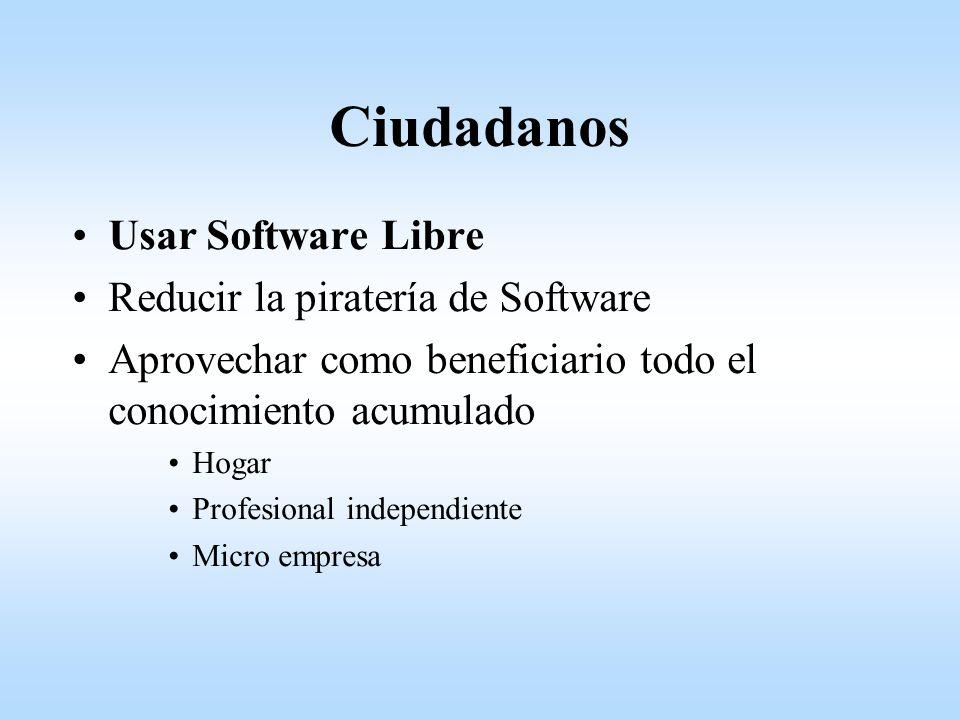 Ciudadanos Usar Software Libre Reducir la piratería de Software Aprovechar como beneficiario todo el conocimiento acumulado Hogar Profesional independiente Micro empresa