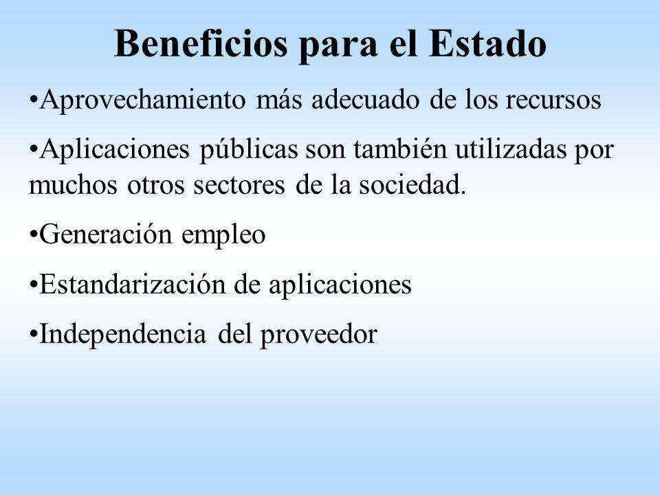 Beneficios para el Estado Aprovechamiento más adecuado de los recursos Aplicaciones públicas son también utilizadas por muchos otros sectores de la sociedad.