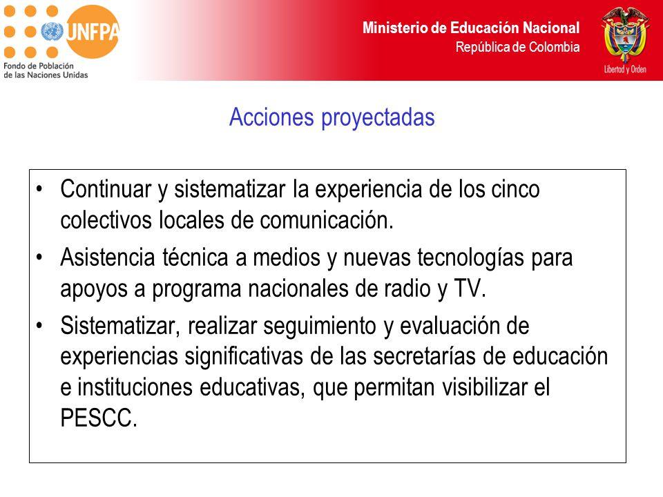 Ministerio de Educación Nacional República de Colombia Acciones proyectadas Continuar y sistematizar la experiencia de los cinco colectivos locales de comunicación.