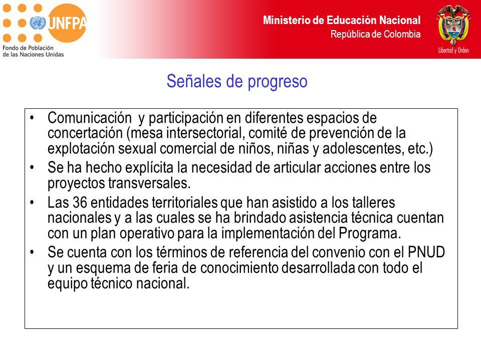 Ministerio de Educación Nacional República de Colombia Señales de progreso Comunicación y participación en diferentes espacios de concertación (mesa i