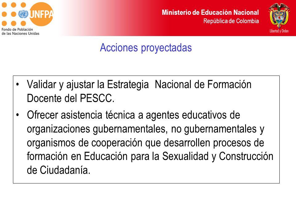 Ministerio de Educación Nacional República de Colombia Acciones proyectadas Validar y ajustar la Estrategia Nacional de Formación Docente del PESCC.