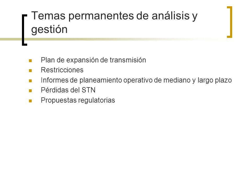 Temas permanentes de análisis y gestión Plan de expansión de transmisión Restricciones Informes de planeamiento operativo de mediano y largo plazo Pér