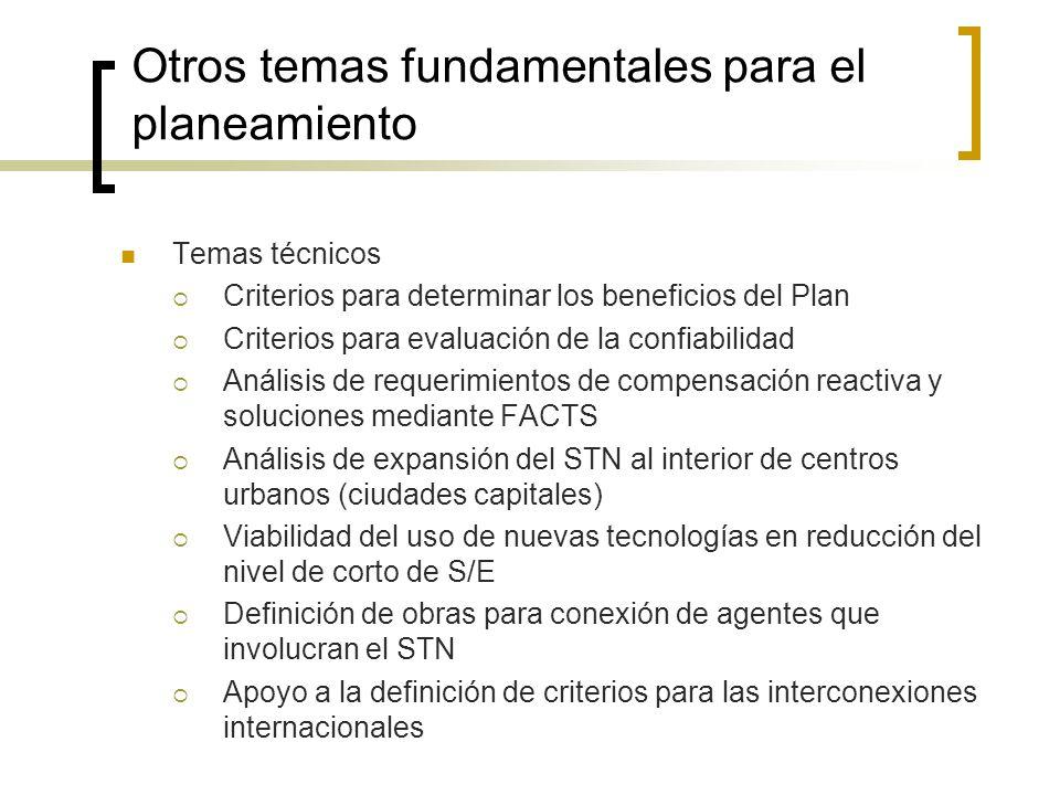 Otros temas fundamentales para el planeamiento Temas técnicos Criterios para determinar los beneficios del Plan Criterios para evaluación de la confia