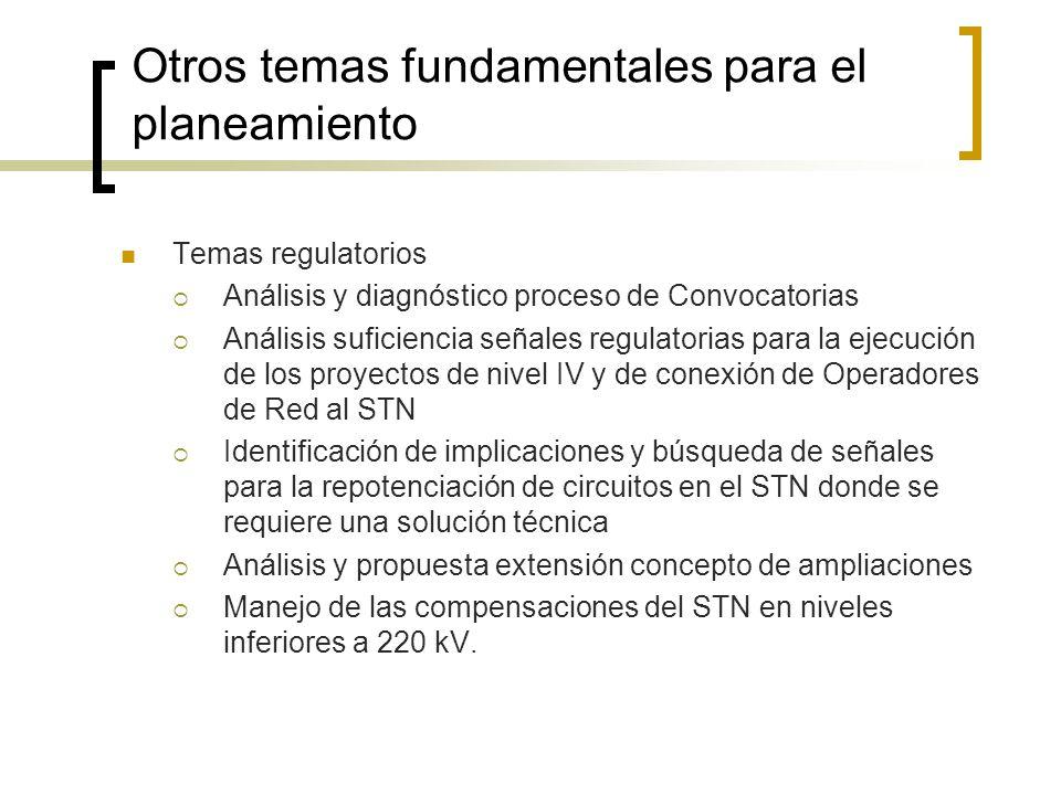 Otros temas fundamentales para el planeamiento Temas regulatorios Análisis y diagnóstico proceso de Convocatorias Análisis suficiencia señales regulat