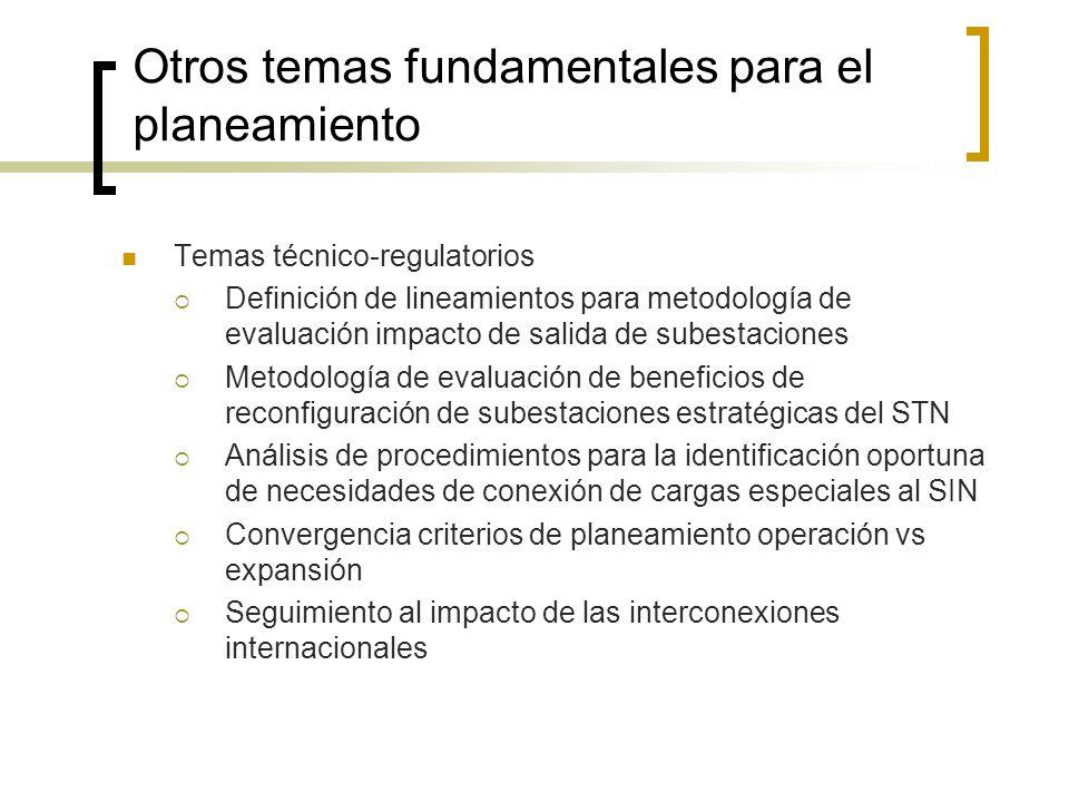 Otros temas fundamentales para el planeamiento Temas técnico-regulatorios Definición de lineamientos para metodología de evaluación impacto de salida